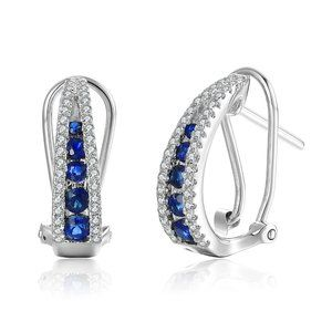 Gemstone Diamond Fancy Hoops Earrings White Gold
